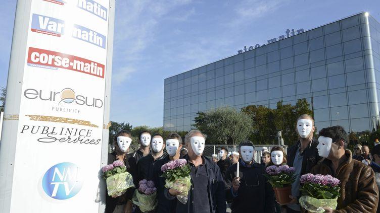 (Action des salariés de Nice-Matin en novembre dernier © REUTERS / Jean-Pierre Amet)
