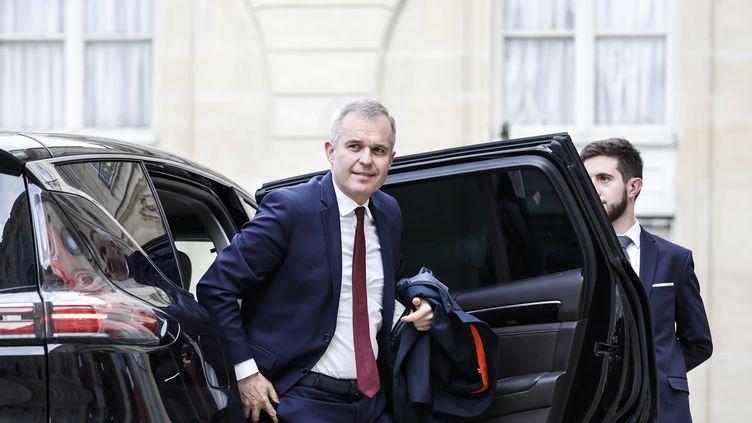 François de Rugy, alors ministre de la Transition écologique, arrivant à l'Elysée pour assister à une conférence de presse d'Emmanuel Macron, le 25 avril 2019. (LAURE BOYER / AFP)