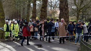 Des passants sont placés dans un périmetre de sécurité à Londres, après l'attaque du mercredi 22 mars. (KATE GREEN / ANADOLU AGENCY)