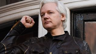 Julian Assange à l'ambassade d'Equateur à Londres (Royaume-Uni), le 19 mai 2017. (JUSTIN TALLIS / AFP)