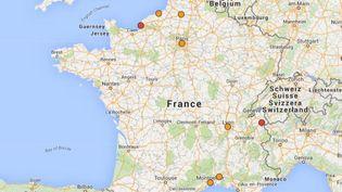 Dix villes françaises sont particulièrement touchées par un épisode de pollution aux particules fines, lundi 2 novembre 2015. (CAROLE BELINGARD / GOOGLE MAPS)