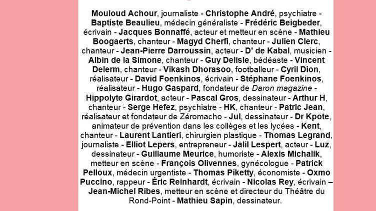 """Les signataires de la pétition pour """"une réforme du congé paternité"""". (CAPTURE D'ÉCRAN / CAUSETTE)"""