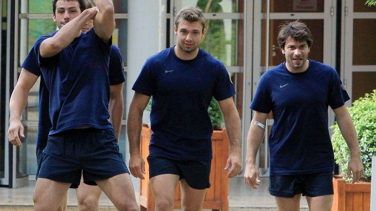 Christophe Dominici et Vincent Clerc en 2007 à Marcoussis (- / AFP)
