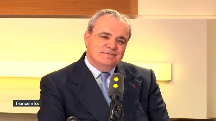 Jean-Louis Chaussade, directeur général de Suez, le 17 mai 2018. (RADIO FRANCE / FRANCEINFO)