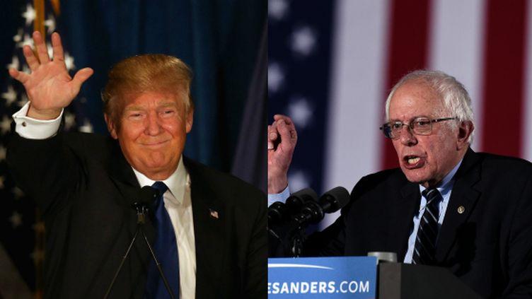 Donald Trump (à gauche) et Bernie Sanders (à droite) celèbrent leurs victoires lors des primaires dans le New Hampshire (Etats-Unis), le 9 février 2016. (AFP)