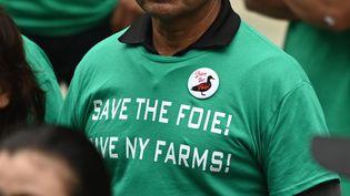 Le18 juin 2019, des agriculteurs manifestaient devant leNew York City Council Health Committee pour protester contre le projet de loi visant à interdire la vente du foie gras, adoptéle 30 octobre 2019. (ANGELA WEISS / AFP)