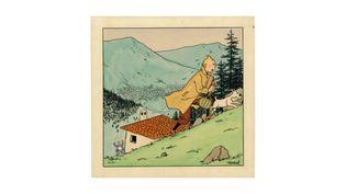 Hergé - Le Petit Vingtième, 1939.Illustration originale, couverture duPetit Vingtièmen° 25du 22 juin 1939. Signée. Encre de Chine et aquarelle sur papier 20,7 × 20,7 cm (8,15 × 8,15 in.) mise aux enchères le jeudi 3 mai 2018 chez Christie's.  (Hergé / Moulinsart / Christie's)