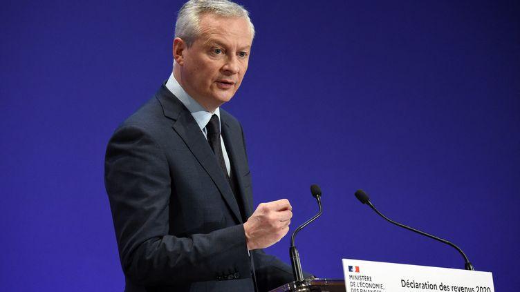 Le ministre de l'Economie et des Finances, Bruno Le Maire, lors d'une conférence de presse à Paris, le 8 avril 2021. (ERIC PIERMONT / AFP)