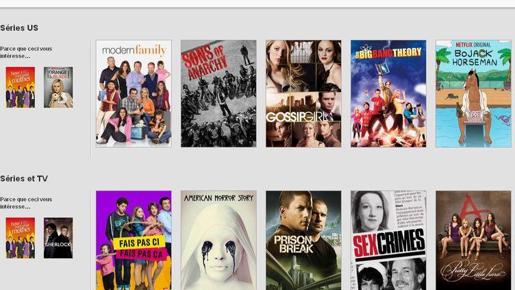 (Le catalogue propose surtout des films et des séries déjà multi-diffusés © Copie d'écran du site Netflix)