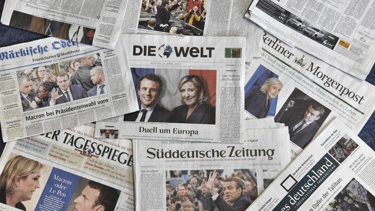 Les journaux allemands ont largementcommenté lundi le premier tour de l'élection présidentielle française. Image d'illustration. (JOHN MACDOUGALL / AFP)