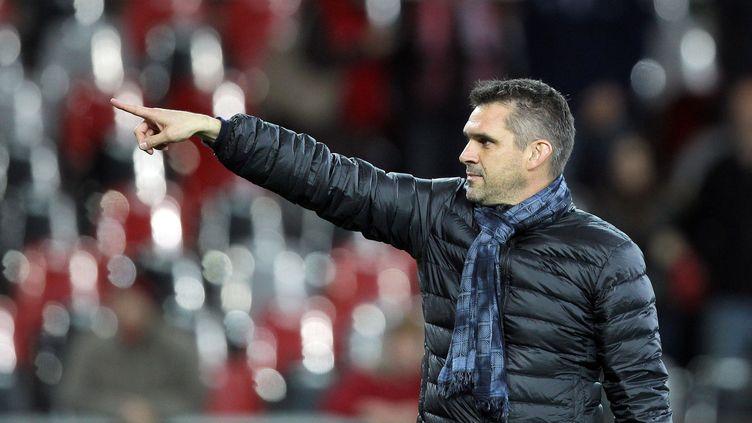 Jocelyn Gourvennec, le coach de l'EA Guingamp (CHARLY TRIBALLEAU / AFP)