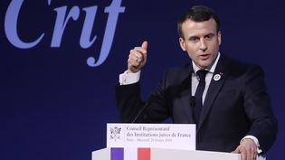 Emmanuel Macron au 34e dîner annuel du Crif, mercredi 20 février 2019, à Paris. (LUDOVIC MARIN / AFP)
