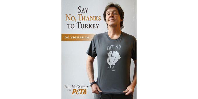 """Paul McCartney dit """"Non"""" à la dinde de Thanksgiving.  (Peta.org)"""