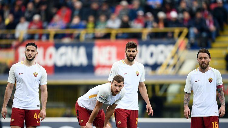 Les joueurs de la Roma (FILIPPO MONTEFORTE / AFP)