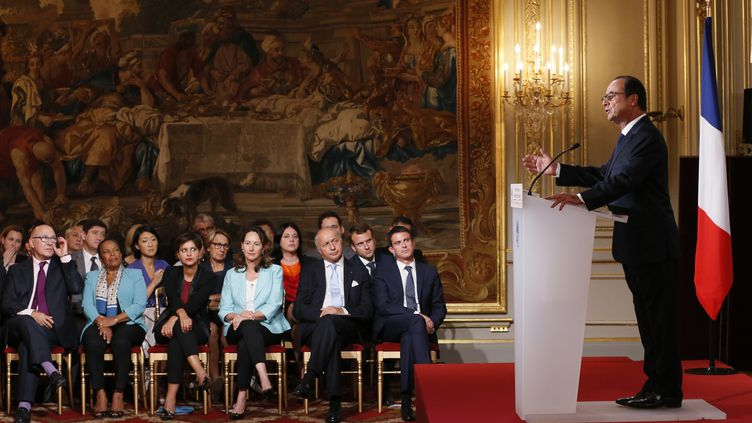 Le président de la République François Hollande, le 18 septembre 2014, à l'Elysée, lors de sa quatrième conférence de presse de son mandat. ( PATRICK KOVARIK / AFP)