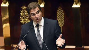 Christian Jacob, chef de file des députés UMP à la tribune de l'Assembéle nationale le 16 septembre 2014 (ERIC FEFERBERG / AFP)