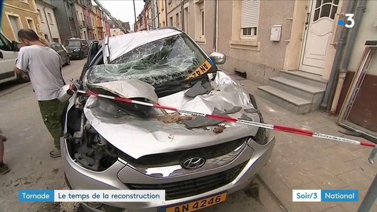 Une voiture détruite par la tornade au Luxembourg (France 3)