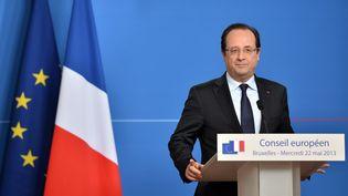 Conférence de presse de François Hollande à Bruxelles le mercredi 22 mai 2013 (BERTRAND LANGLOIS / AFP)