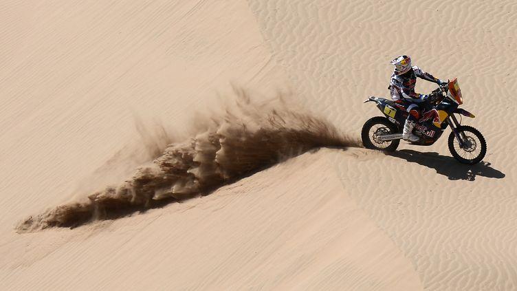 Cyril Despres, sur sa KTM dans la 12e étape du Dakar 2013, en Argentine, le 17 janvier 2013. (FRANCK FIFE / AFP)