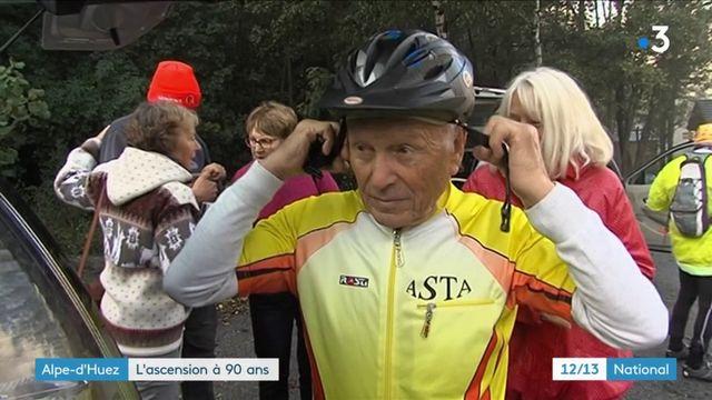 À 90 ans, l'ancien champion de moto Georges Burggraf gravit l'Alpe d'Huez à vélo