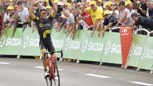 La joie du coureur français Lilian Calmejane vainqueur de la 8e étape du Tour de France aux Rousses (Jura), le 8 juillet 2017. (DIRK WAEM / BELGA MAG)