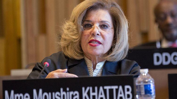 L'Egytienne Moushira Khattab, candidate de l'Afrique à l'Unesco, lors de son audition le 26 avril 2017, à Paris, au siège de l'organisation. (UNESCO/Christelle ALIX)