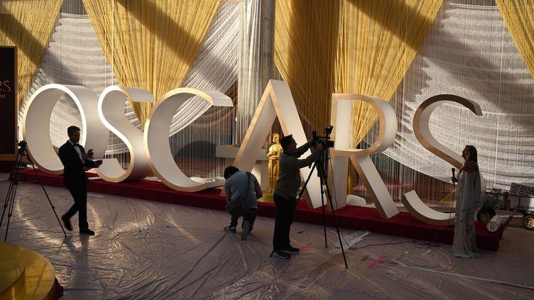 La préparation de la cérémonie des Oscars, le 7 février 2020 à Los Angeles (ROBYN BECK / AFP)