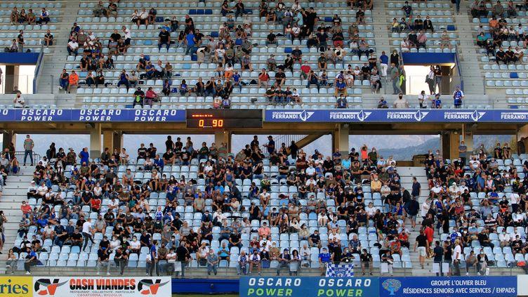 Plus de 6 000 spectateurs étaient rassemblées à Furiani pour Bastia-Boulogne-sur-Mer (XAVIER GRIMALDI / MAXPPP)