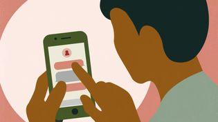 Un utilisateur d'application de rencontres au Maroc (illustration). (JESSICA KOMGUEN/BAPTISTE BOYER (FRANCEINFO))