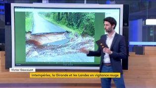 Une route détruite par les eaux (FRANCEINFO)
