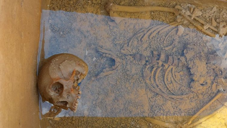 L'occupant d'un sarcophage du VIIe siècle découvert intact en Haute-Marne, le 25 juin 2021. (CAPTURE D'ECRAN TWITTER)