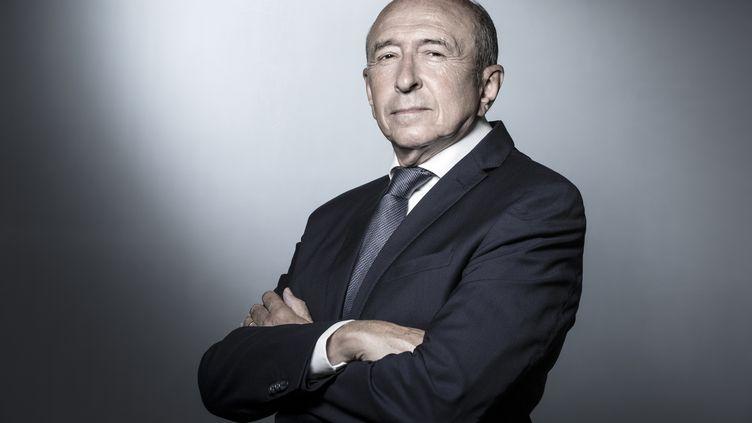 Gérard Collomb, dans son bureau au ministère de l'Intérieur, à Paris, le 24 août 2018. (JOEL SAGET / AFP)
