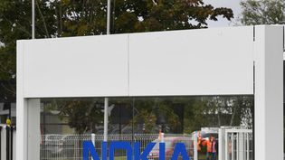 L'entrée du site Nokia à Lannion, (photo d'illustration, 07 septembre 2017). (DAMIEN MEYER / AFP)