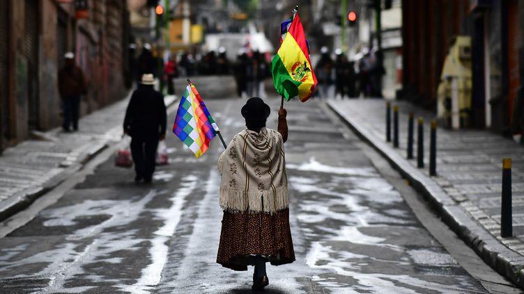 Une partisanede l'ancien présidentEvo Morales lors d'une manifestation, le 14 novembre 2019, à La Paz en Bolivie. (RONALDO SCHEMIDT / AFP)