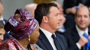 Le Premier ministre italien et la présidente de la commission de L'Union africaine à la conférence de Rome du 18 mai 2016. (AFP/ Silvia Lore)