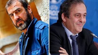 A gauche, Eric Cantona en juin 2011 à Lyon ; à droite, Michel Platini en avril 2014 à Paris. (  MAXPPP)