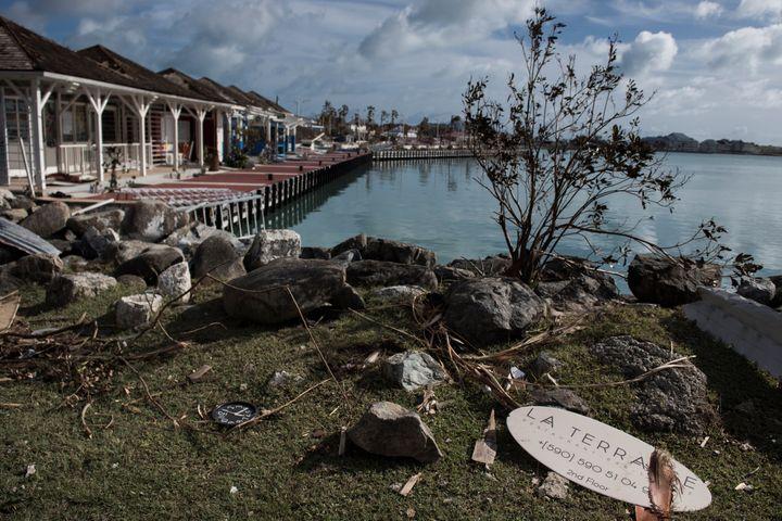 La marinade Marigot, le 8 septembre 2017, après le passage de l'ouragan Irma sur l'île de Saint-Martin. (MARTIN BUREAU / AFP)