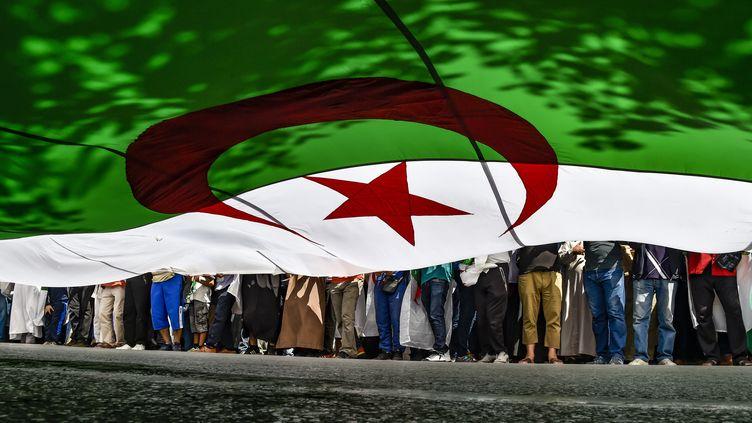 Des manifestants marchent sous le drapeau de l'Algérie, à Algers, le 31 mai 2019. (RYAD KRAMDI / AFP)