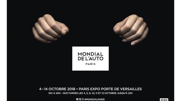 L'affiche très sobre et très parlante de ce Mondial de l'Auto 2018. (AMC POUR FRANCE INFO)