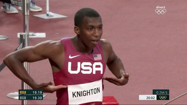 """20""""02 en demi-finale du 200 m pour Erriyon Knighton, qualifié aisément pour la grande finale à seulement 17 ans."""