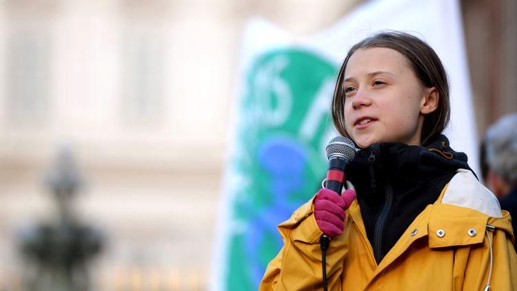 La militante écologiste Greta Thunberg lors d'une marche pour le climat à Turin (Italie), le 13 décembre 2019. (FILIPPO MONTEFORTE / AFP)