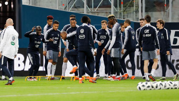 Entraînement de l'équipe de France de football avant le match contre la Russie à Saint-Pétersbourg, mardi 27 mars 2018. (MIKE KIREEV / NURPHOTO/AFP)