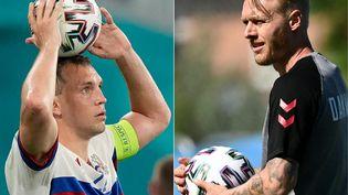L'attaquant russe Artem Dzyuba et le défenseur danois Simon Kjaer. (DMITRY LOVETSKY / AFP)