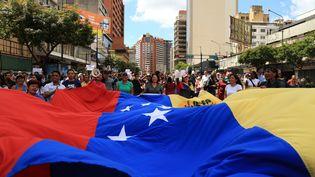 Une manifestation d'opposants à Nicolas Maduro à Caracas (Venezuela), le 30 janvier 2019. (LOKMAN ILHAN / ANADOLU AGENCY / AFP)