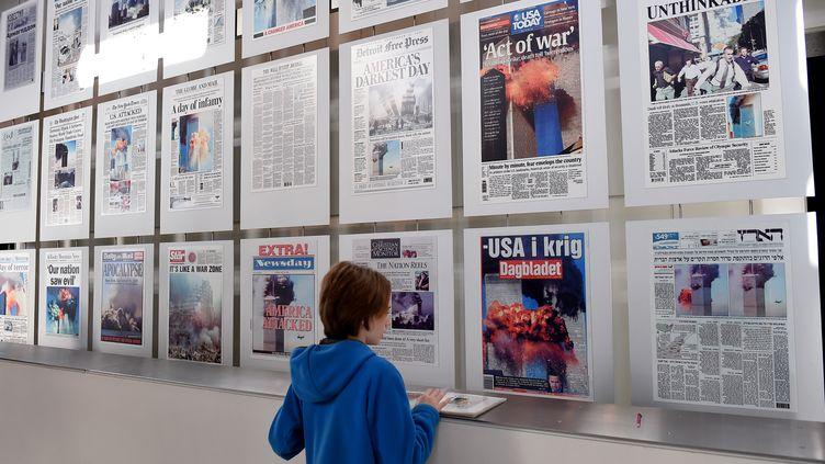 Les unes des journaux au lendemain du 11 septembre,Newseum, 19 décembre 2019 (OLIVIER DOULIERY / AFP)