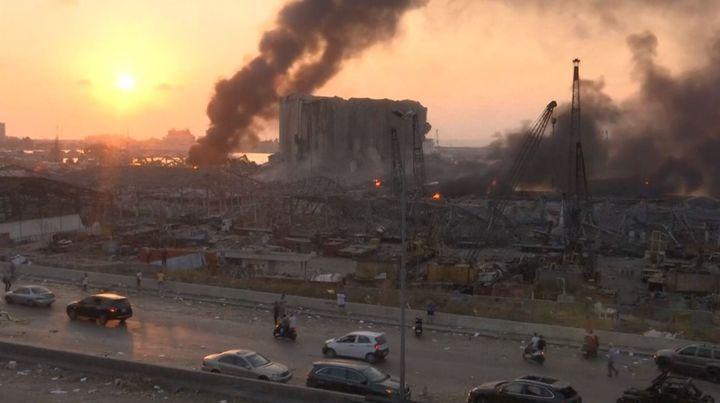 Les dégâts dans le port de Beyrouth où une explosion a eu lieu le 4 août 2020. (REUTERS)