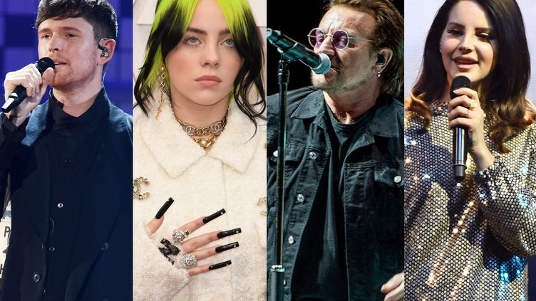 James Blake, Billie Eilish, Bono et Lana Del Rey ont tous publié de belles reprises en 2020. (AFP / KEVIN WINTER / ROBYN BECK / NILS MEIL VANG / ETHAN MILLER / AFP)