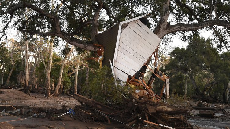Une construction encastrée dans un arbre après le passage des coulées de boues à Montecito, en Californie, le 10 janvier 2018. (ROBYN BECK / AFP)