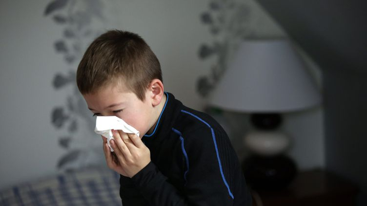 Un enfant malade de la grippe se mouche. (Photo d'illustration) (MAXPPP)