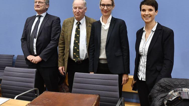 De gauche à droite : Jörg Meuthen, Alexander Gauland, Alice Weidel et Frauke Petry, dirigeants de l'AfD, avant une conférence de presse, à Berlin (Allemagne), le 25 septembre 2017. (JOHN MACDOUGALL / AFP)